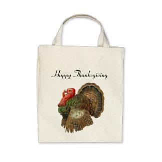 Vintage Turkey Organic Grocery Tote Bags