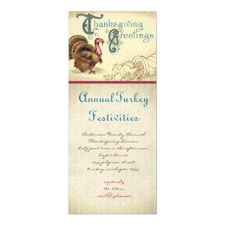 """Vintage Turkey Thanksgiving Dinner Invitations 4"""" X 9.25"""" Invitation Card"""