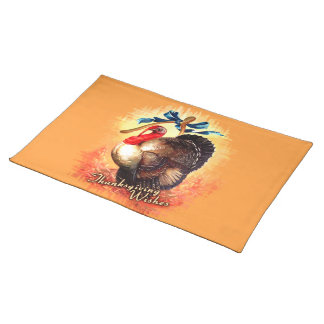 Vintage Turkey Wishes Thanksgiving Placemat
