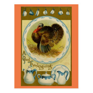 Vintage Turkey With Dishes Postcard