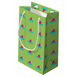 Vintage turquoise and pink flowers small gift bag