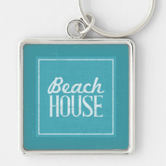 Vintage Turquoise Blue Beach House Silver-Colored Square Key Ring