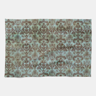 Vintage Turquoise Blue Brown Damask Pattern Tea Towel