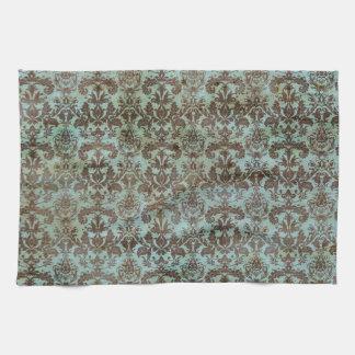 Vintage Turquoise Blue Brown Damask Pattern Towels