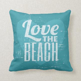 Vintage Turquoise Blue Love the Beach Throw Cushions