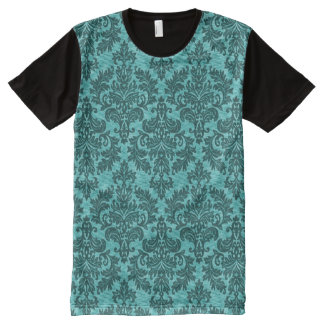 Vintage Turquoise Damask All-Over Print T-Shirt