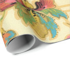 Vintage Turquoise Orange Floral Wallpaper Pattern Wrapping Paper