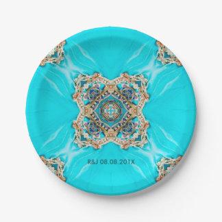 vintage turquoise pattern bohemian wedding favor paper plate