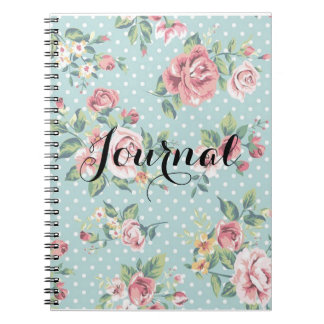 Vintage Turquoise Polka Dot and Pink Roses Journal