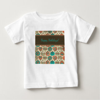 Vintage Turquoise Red Beige Christmas Hanging Ball Baby T-Shirt