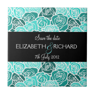 """Vintage turquoise roses """"Save the date"""" Tile"""