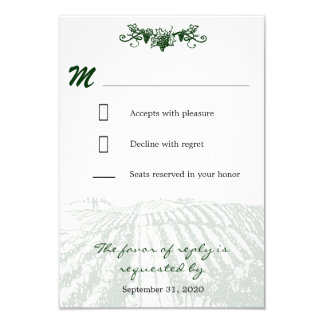 Vintage Tuscan Winery Vineyard Wedding RSVP Cards
