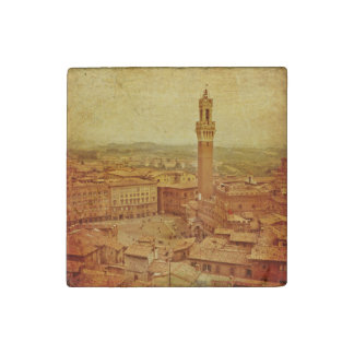 Vintage Tuscany, medieval Siena Stone Magnet