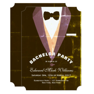 Vintage Tuxedo Bachelor Party Card