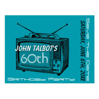Vintage TV 60th Birthday Save the Date Postcard