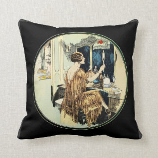 Vintage Twenties Lady at her Dressing Table Cushion