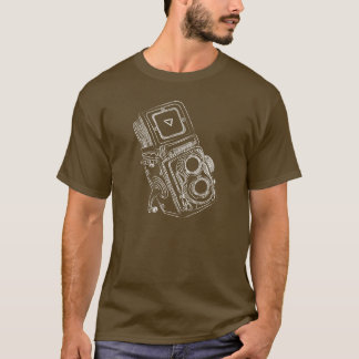 Vintage Twin Lens Camera Chalkboard Art T-Shirt