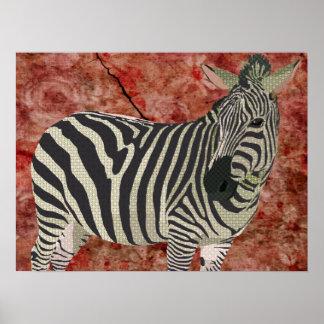 Vintage Twinkle Zebra Art Print