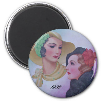Vintage Two Women 1932 6 Cm Round Magnet