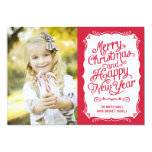 Vintage Type Holiday Photo Card - Red 13 Cm X 18 Cm Invitation Card