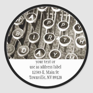 Vintage Typewriter Birthday Greeting Classic Round Sticker