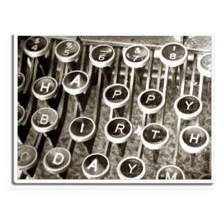 Vintage Typewriter Birthday Greeting Postcard