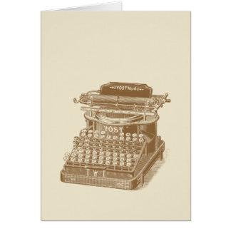 Vintage Typewriter Brown Type Writting Machine Note Card