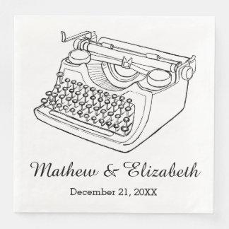Vintage Typewriter Custom Wedding Paper Napkin