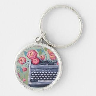 Vintage Typewriter & Flowers Keychain