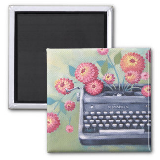 Vintage Typewriter & Flowers Magnet