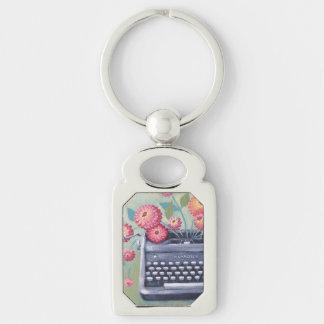 Vintage Typewriter & Flowers Silver Keychain