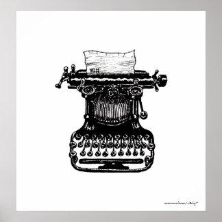 Vintage typewriter graphic art poster