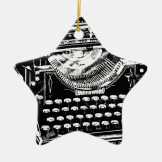 Vintage Typewriter Illustration Ceramic Star Decoration
