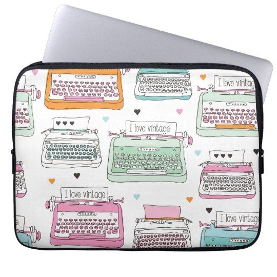 Vintage typewriter illustration laptop sleeve
