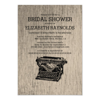 Vintage Typewriter Keys Bridal Shower Invitations