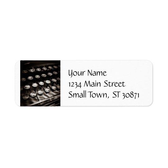 Vintage Typewriter Keys in Black and White Return Address Label