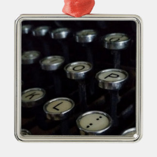 Vintage Typewriter Keys Premium Square Ornament