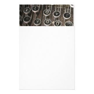 Vintage Typewriter Keys - Sweethearts Love Letter Personalized Stationery