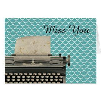 Vintage Typewriter Miss You Card