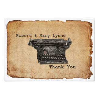 Vintage Typewriter Personalize Flat Thank You Note Card