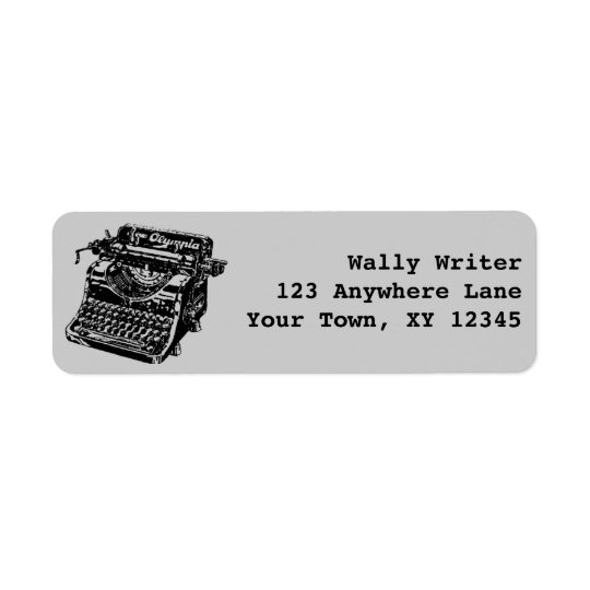 Vintage Typewriter Return Address Label