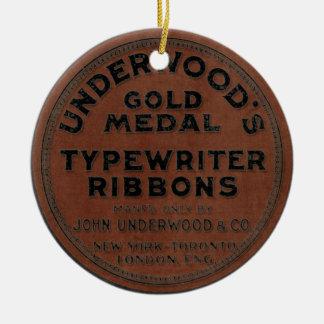 Vintage Typewriter Ribbon Case Round Ceramic Decoration