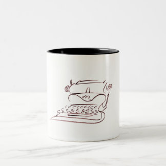 Vintage Typewriter Sketch, Rust, 11oz Two-tone mug