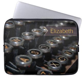 Vintage Typewriter Writer Custom Name Laptop Sleeve