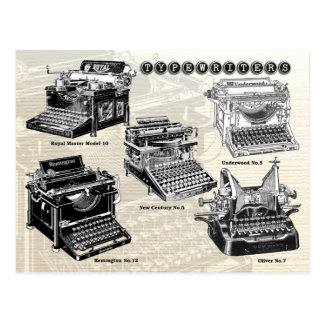 Vintage Typewriters - Illustrations Postcard