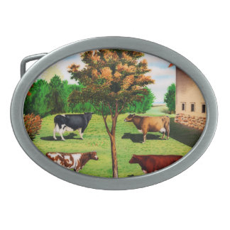 Vintage Typical Cow Breeds On The Farm Oval Belt Buckle