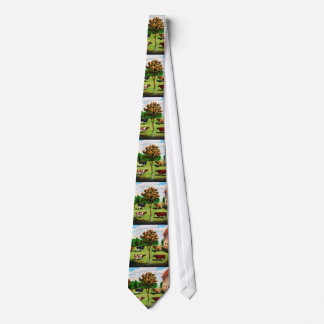 Vintage Typical Cow Breeds On The Farm Tie