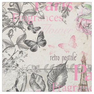 Vintage typo black pink floral Paris Eiffel Tower Fabric