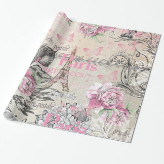 Vintage typo black pink floral Paris Eiffel Tower Wrapping Paper