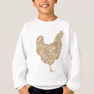 Vintage typographic chicken butcher cuts diagram sweatshirt